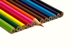 Colored pencil. Twelve lumpy coloured pencil. One sharp Stock Photo