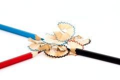 Colored pencil. Three pencil sharpen.White background Stock Image