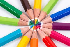 Colored pencil as rainbow in circle Royalty Free Stock Images