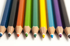 Colored pencil assortment Royalty Free Stock Images