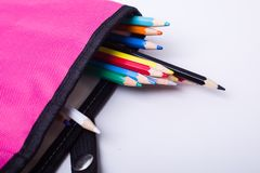 Colored pencil. In the bag on a white background Stock Image