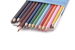 Colored pencil box Stock Photo