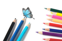 Colored pencil and butterfly drawing royalty free stock images