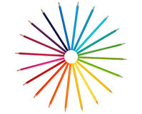Colored Pencil. Color pencil on white background simulating a color gradient royalty free stock photography