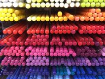 Colored pencil crayons. A collection of pencil crayons in a rainbow sequence Royalty Free Stock Photos