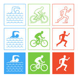 Colored pencil drawing of the logo triathlon. Royalty Free Stock Image