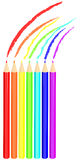Colored pencil drawing rainbow. Seven colored pencil drawing rainbow Stock Photography
