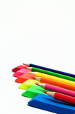 Colored Pencil And Eraser Abstract. Colored pencils and erasers in various color shades Stock Photos