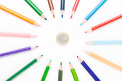 Colored pencil with euro Stock Photography