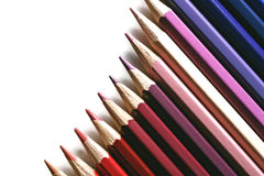 Colored pencil gradation. On white Stock Image