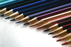 Colored pencil gradation. On white Stock Photography