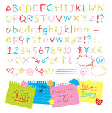 Colored pencil hand drawn style alphabets set Stock Photography