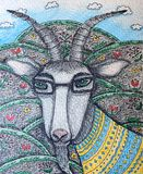 Colored pencil illustration of a goat. Fairytale character stock illustration