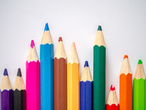 Colored pencil isolated on grey art paper Stock Photo