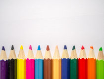 Colored pencil isolated on grey art paper Stock Photography