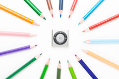 Colored pencil with mp3 Royalty Free Stock Images