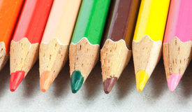 Colored pencil arranged close up Royalty Free Stock Photos