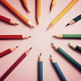Colored pencil on paper background for drawing color circle Royalty Free Stock Image