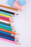 Colored pencil and paper Stock Photos