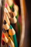 Colored Pencil Points. Close up of 2 rows of colored pencil sharpened points Royalty Free Stock Photo