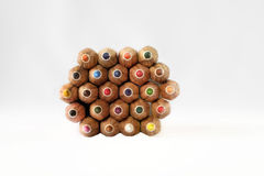 Colored pencil points on white background Royalty Free Stock Photos