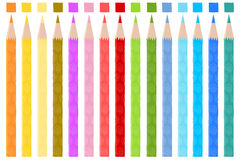 Colored pencils. Set with spirals as decorative details, fifteen pencils that have a little square indicating the color of the pencil Stock Image