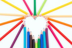 Colored pencil in the shape of hearth Royalty Free Stock Image