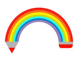 Colored pencil in shape of rainbow. Isolated. Flat Royalty Free Stock Image
