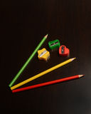 Colored Pencil Sharpeners and Pencils Royalty Free Stock Image