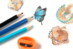 Colored pencil sharpening and butterfly drawing. Isolated on white royalty free stock images