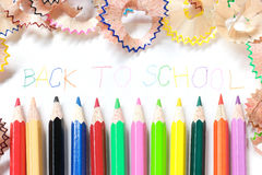 Colored pencil sharpening and writing - Back to school stock images