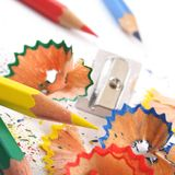 Colored pencil shaving Stock Photos