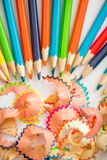 Colored pencil shaving on white background. school education concept.  royalty free stock photo