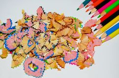 Sharpened color crayons with shadings on white paper royalty free stock photos