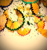 Colored pencil shavings Royalty Free Stock Photo