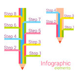 Colored pencil with some note. Vector infographic Stock Image