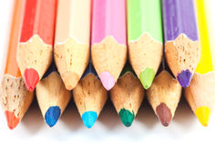 Colored pencil stack close up Stock Photography
