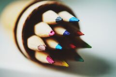 Colored Pencil in Tilt Shift Lens Royalty Free Stock Photography