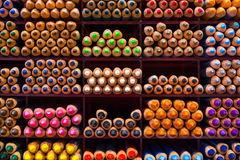 Colored Pencil Tips Colorful Spectrum Shelf Background Stacks Gr Royalty Free Stock Image