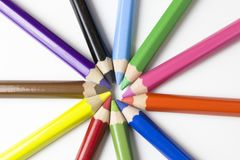 Color pencils on white background. Free royalty images. A colored pencil US-English, coloured pencil UK-English, Canada-English, pencil crayon Canada-English royalty free stock photography