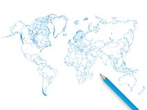 Colored pencil world map illustration on a white background. Colored pencil world map  illustration Royalty Free Stock Images