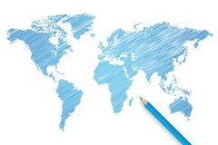 Colored pencil world map vector. Illustration Stock Image