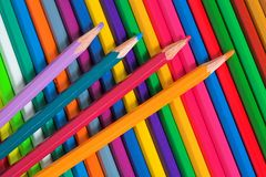 Colored pencils. Rainbow from varicolored pencils Royalty Free Stock Photo