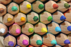 Colored Pencils. Close up Macro lens image showing group of colored pencils n natrual light additional lighting from mirror reflection Stock Photos