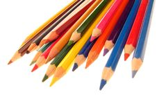 Colored pencils. Details of the sharpened ends of colored pencils.  White background Stock Images