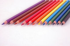Colored Pencils. Sharpened in a row Royalty Free Stock Photos