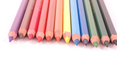 Colored Pencils. Sharpened in a row Royalty Free Stock Images