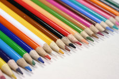 Colored Pencils. In a row Stock Photo