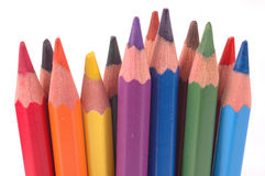 Colored Pencils. Sharpened in a row Royalty Free Stock Photo