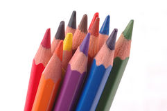 Colored Pencils. Sharpened in a row Royalty Free Stock Image
